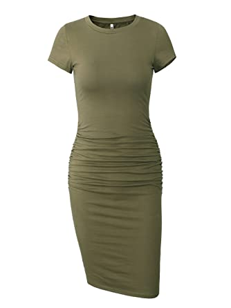 497a62a782a1 Missufe Women's Ruched Casual Sundress Midi Bodycon Sheath Dress (Army Green,  X-Small