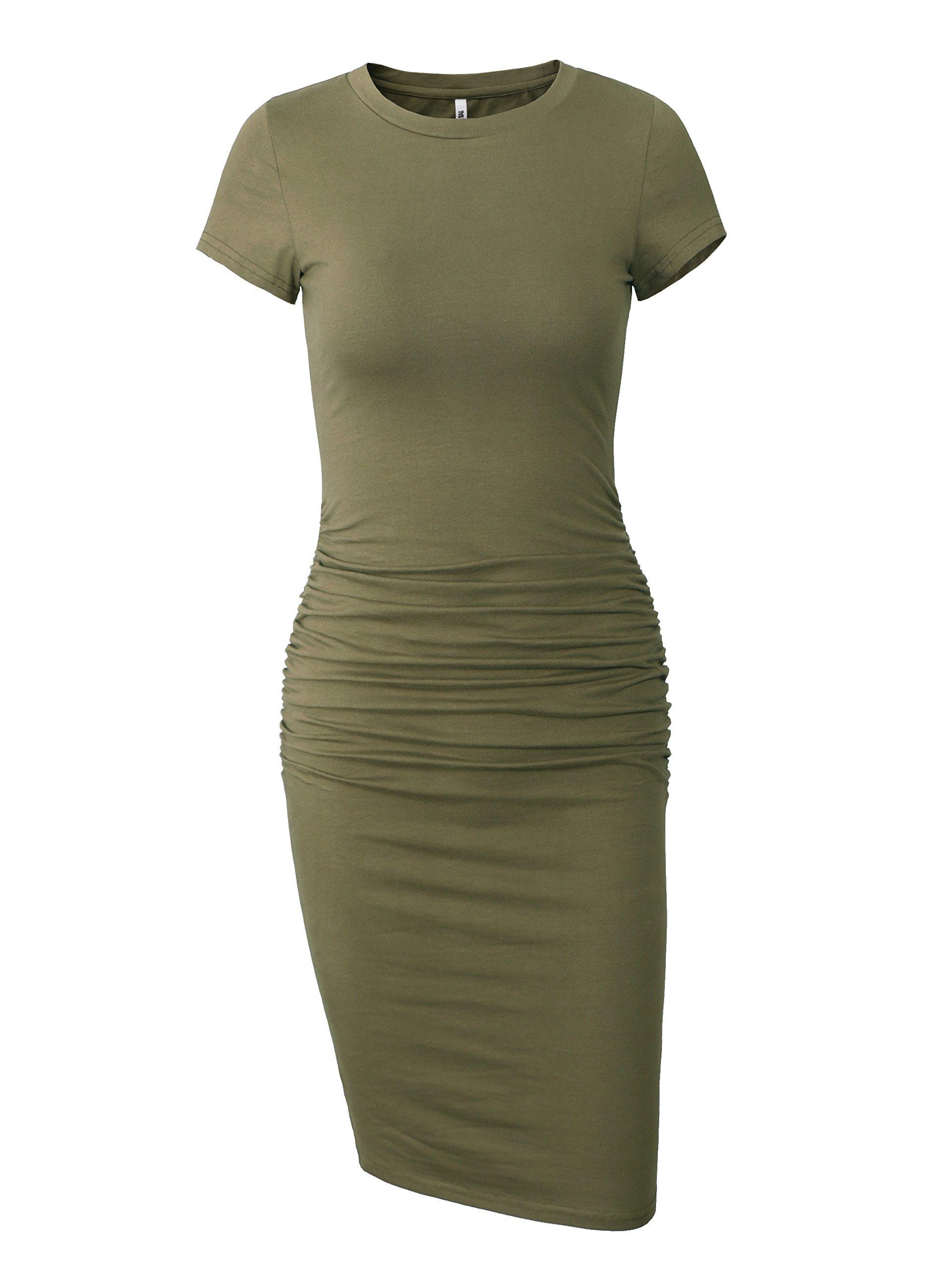 Missufe Women's Ruched Casual Sundress Midi Bodycon Sheath Dress (Army Green, Medium)