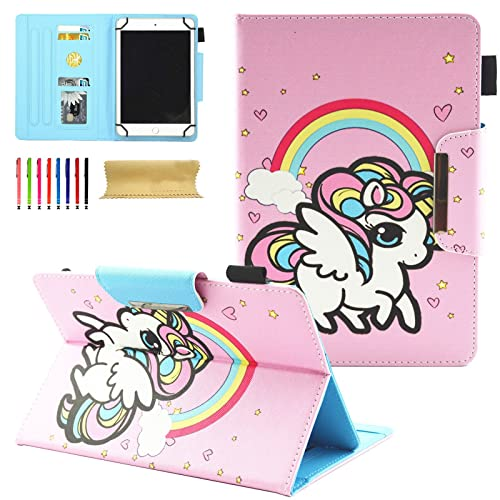 "Coopts 7 Inch Universal Tablet Case Stand Wallet Case for Samsung Galaxy Tab/Amazon Kindle fire 7.0 2015 2017/ Mediapad/Google and More 6.5""-7.5"" inch Tablet, Rainbow Pony"