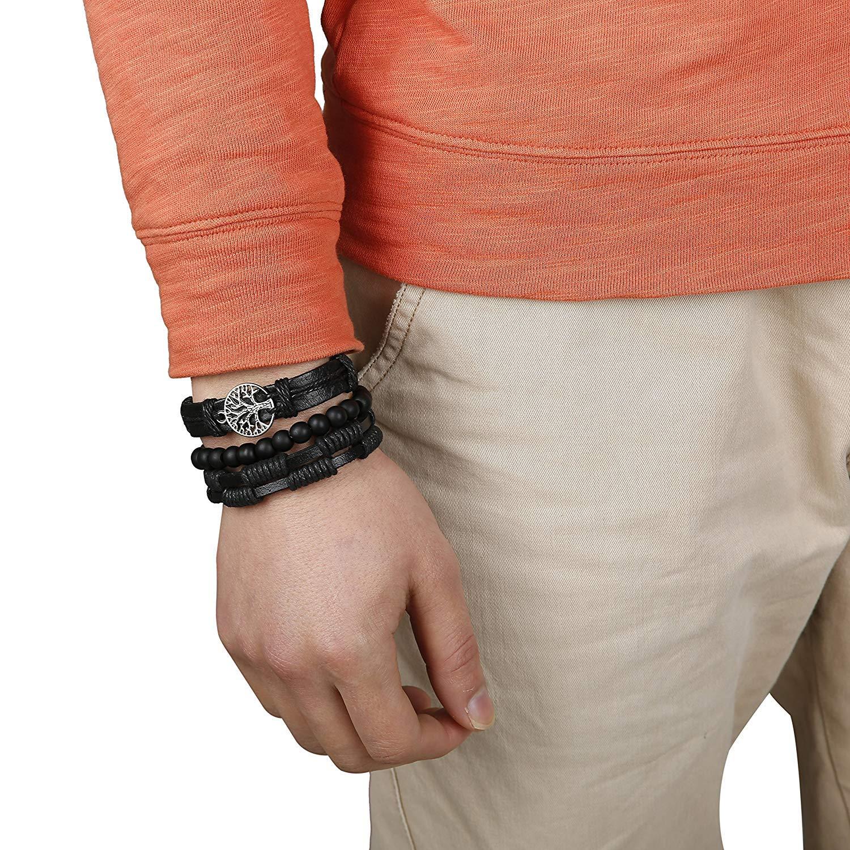 Milacolato Regolabile Pelle Bracciali Albero della Vita per Uomo Donna Intrecciato Cuoio Braccialetto Multilivello