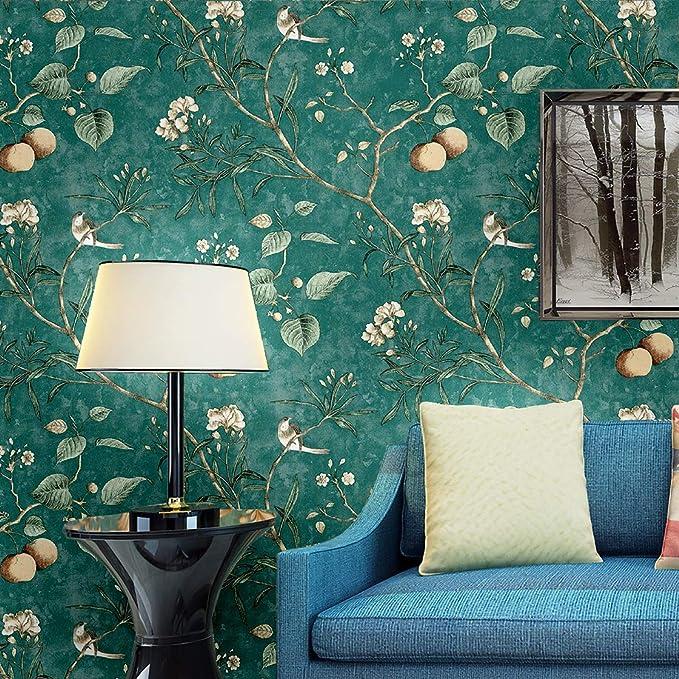 5 m Blooming mur Peel /& Stick Vintage Floral Oiseaux Papier Peint Mur Vert Fablon