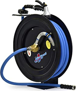 """BluBird RMX BluSeal Retractable Water Hose Reel w/ Hot Water Rubber Hose 5/8"""" x 50' + 6' Lead-in + 9 Pattern Spray Nozzle - BSWR5850"""