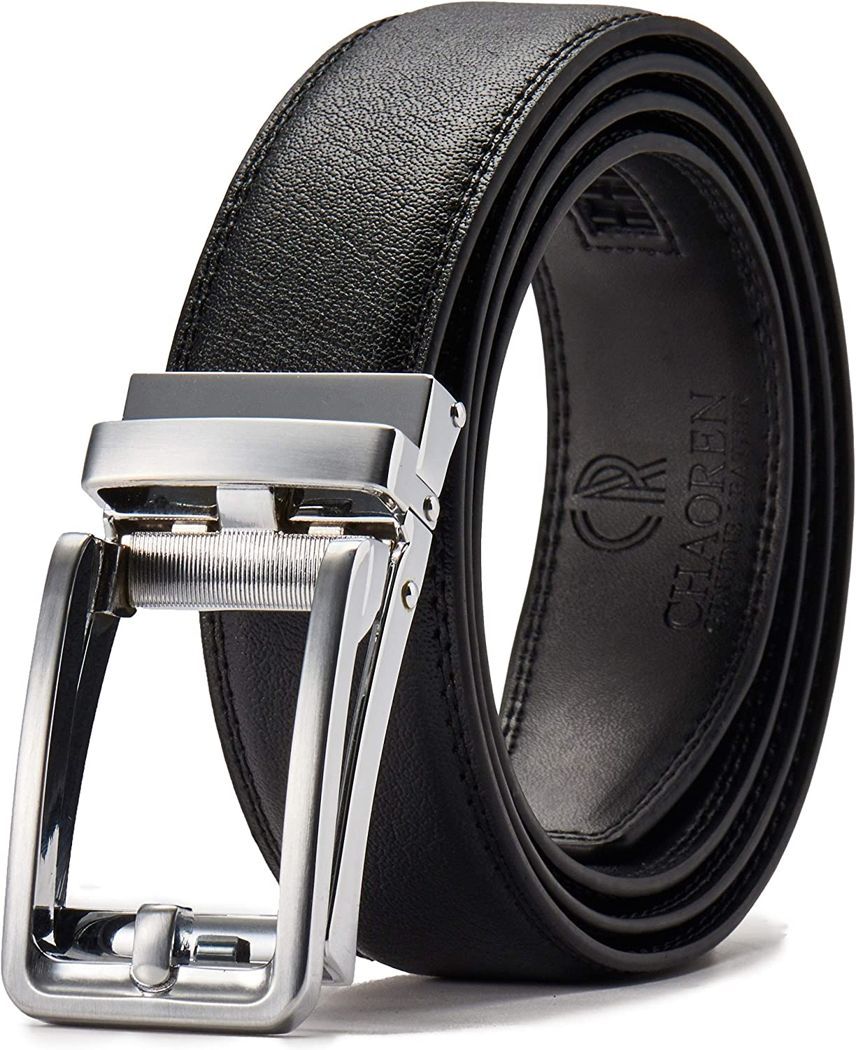 "Chaoren Click Ratchet Belt Dress with Sliding Buckle 1 3/8"" - Men's Belt Adjustable Trim to Exact Fit"