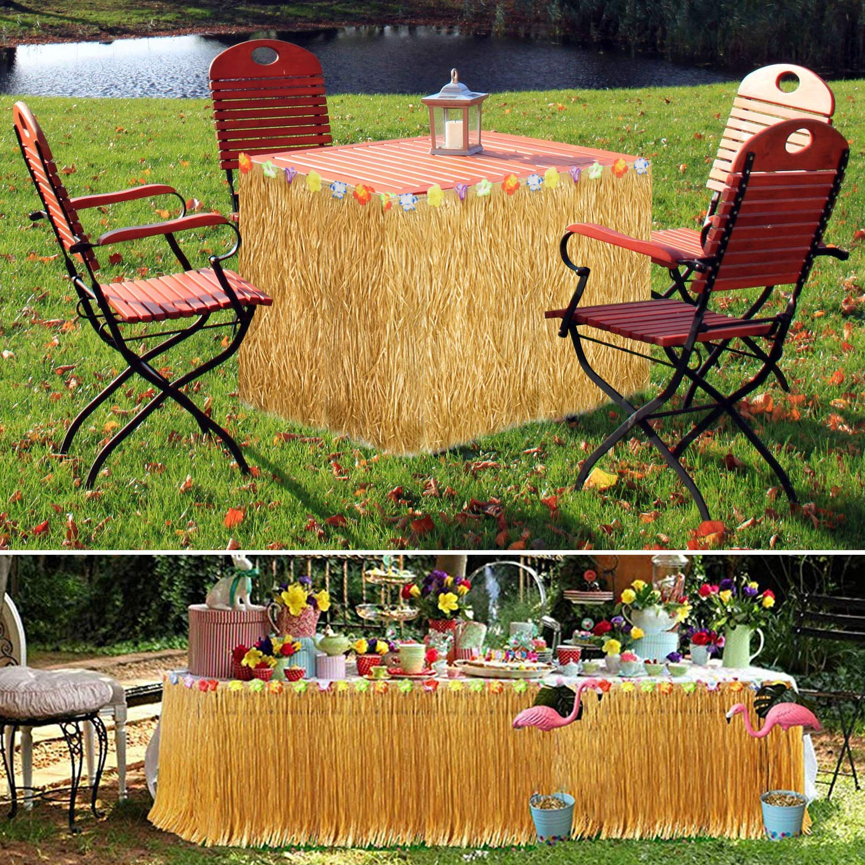 Alcoon Hawaiian Luau Table Skirt 9 Feet Hibiscus Grass Table Skirt 26 Faux Silk Flowers Tropical Island, Luau, Garden Beach Summer, Wedding, Birthday, Party Tableware Decorations