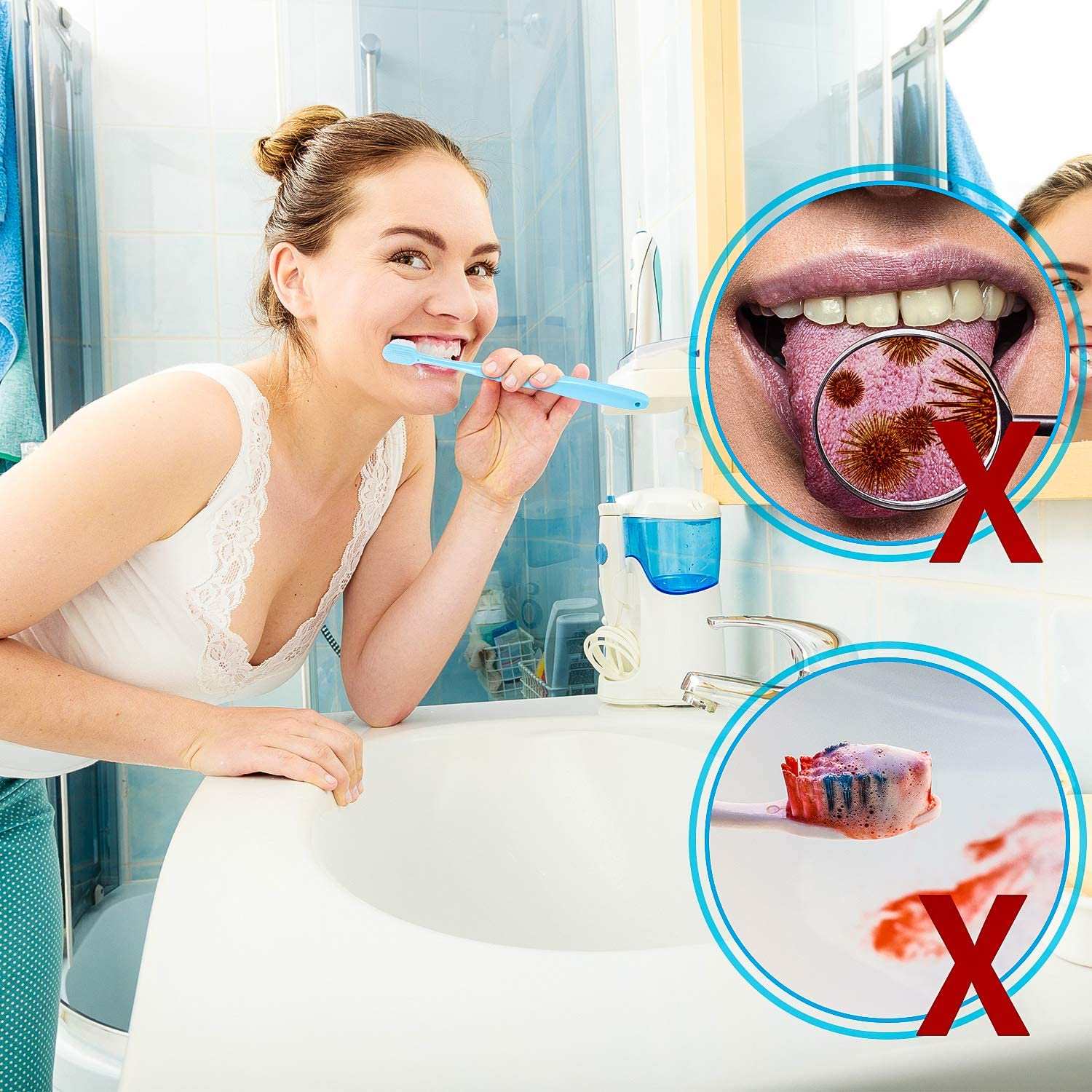 4 Pieces Soft Micro-Nano Manual Toothbrush Extra Soft Bristles Toothbrush with 20,000 Bristles for Fragile Gums Adult Kid Children (Blue, Pink): Health & Personal Care