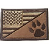USA American Flag w/Dog Tracker Paw Embroidered Applique Hook & Loop Patch (Browm)