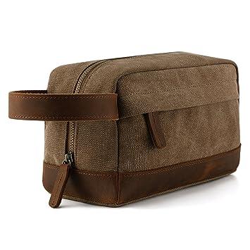 389bb9365d9c Amazon.com  Plambag Canvas Leather Toiletry Bag for Men