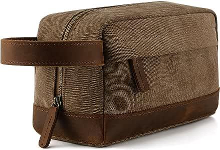 Plambag Canvas Leather Toiletry Bag Travel Dopp Kit Cosmetic Makeup Organizer(Coffee)