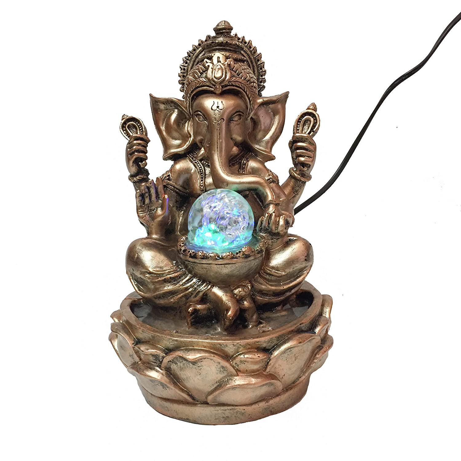 Giving and Living Ganesh Hindu God Holy Water Fountain Bronze Gold with LED Rolling Crystal Ball