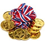 AllRight 100 Kids Gold Winners Medals Party Bag Prize Awards Toy