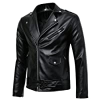 Benibos Men's Classic Police Style Faux Leather Motorcycle Jacket