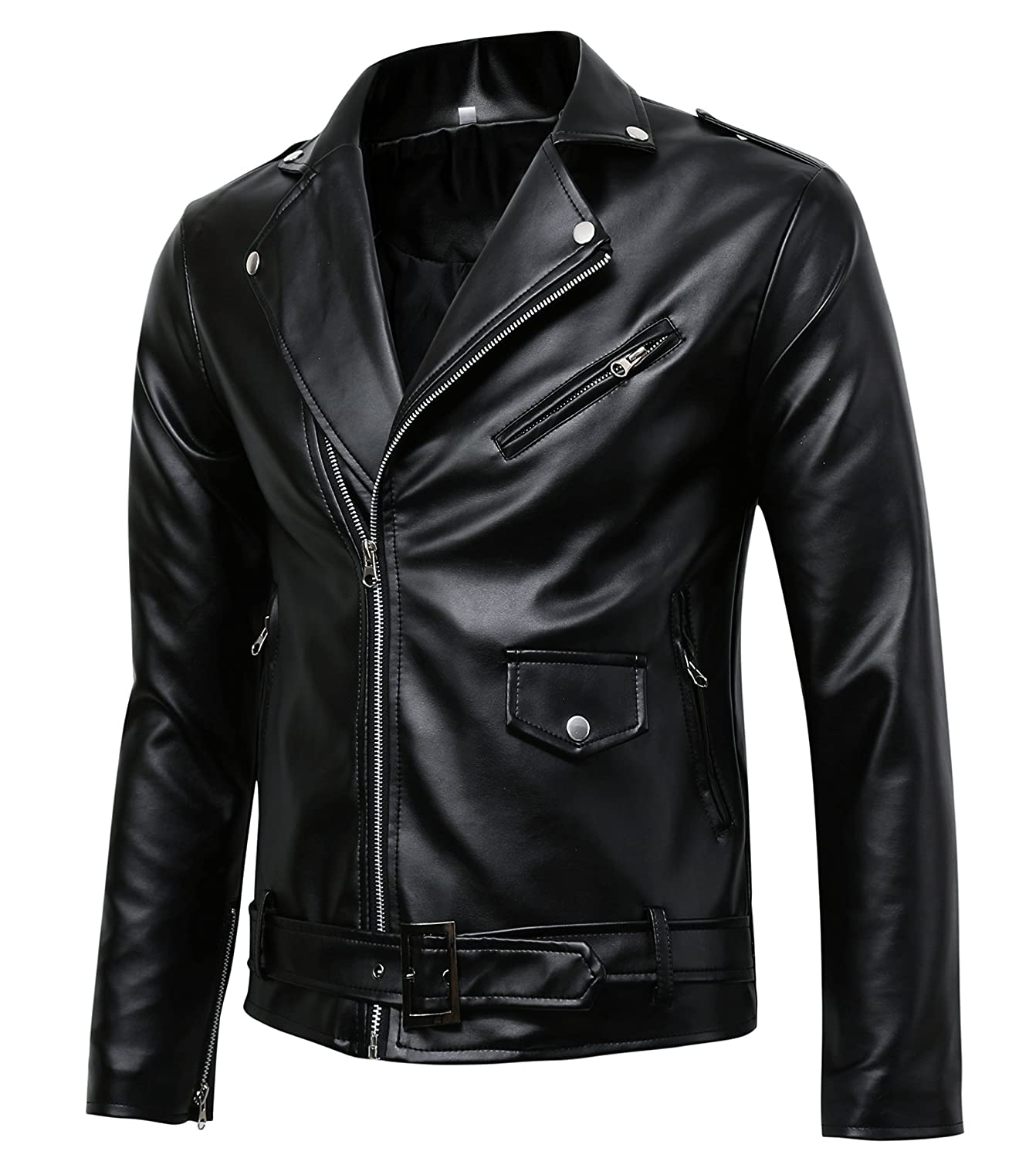 Men's Police Style Faux Leather Biker  Jacket