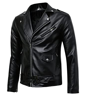 Men's Classic Police Style Faux Leather Motorcycle Jacket at ...