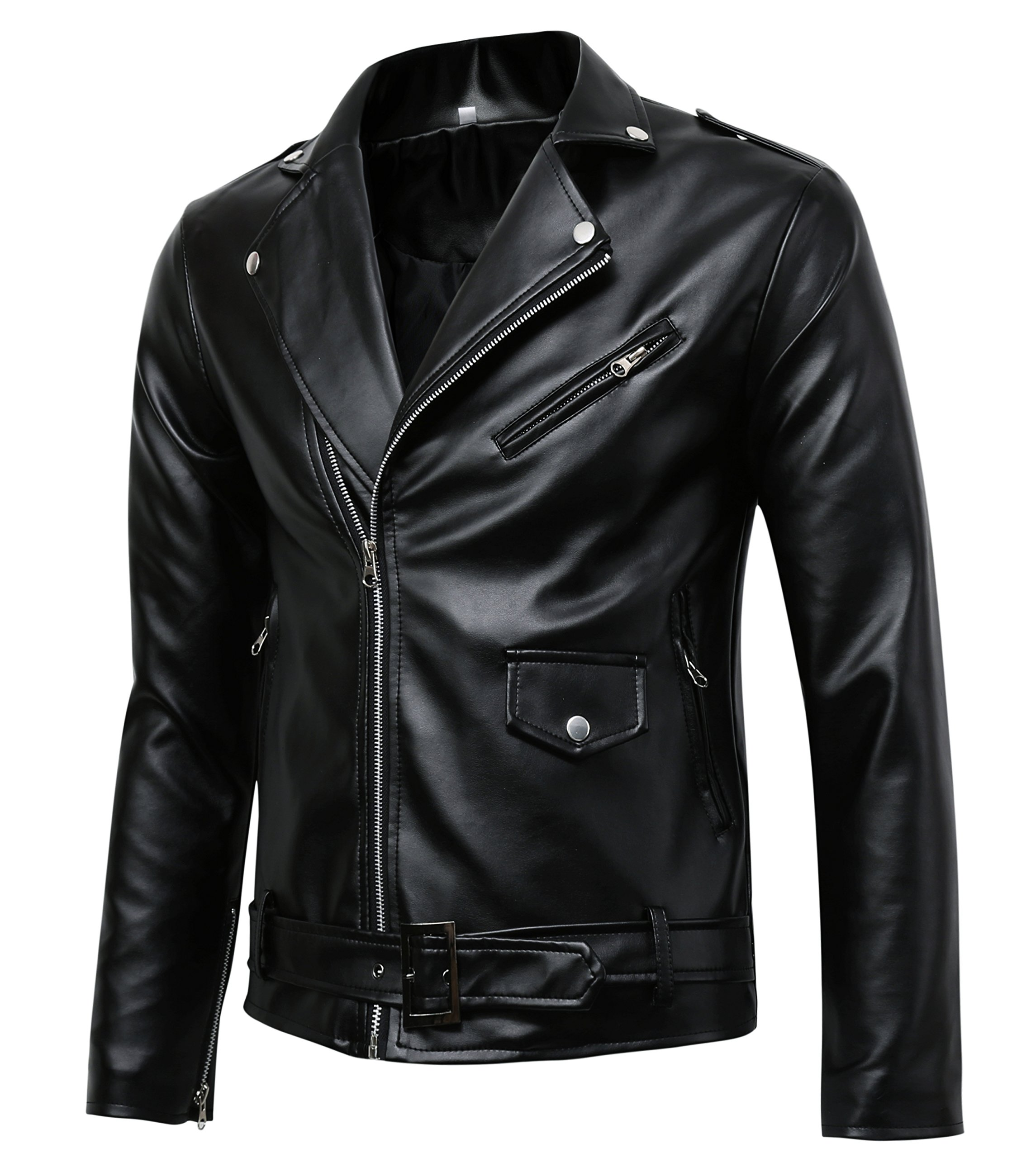 Men's Classic Police Style Faux Leather Motorcycle Jacket, Black, X-Large