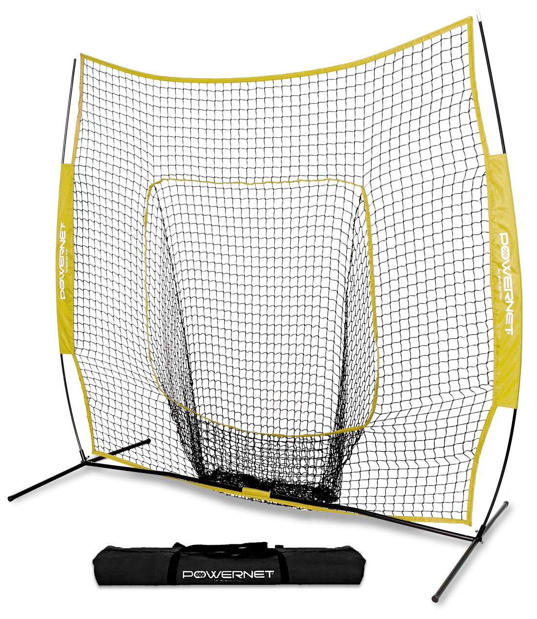 PowerNet Team Color Baseball Softball 7x7 Hitting Net w/Bow Frame (Yellow) by PowerNet