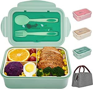 Porzu Bento Lunch Box, 1400 ML Lunch Box Meal PrepFor Kids & Adults,3 Compartments Portable Food Container with Utensil (Green)