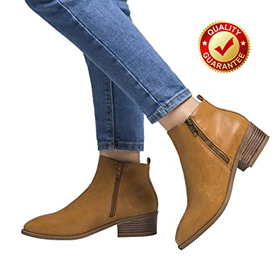 Short Ankle Boots For Women Winter Spring Low Chunky Block Stacked Heels Round Toe Waist Elastic Slip On Boots For Lady Big Girls Black Brown