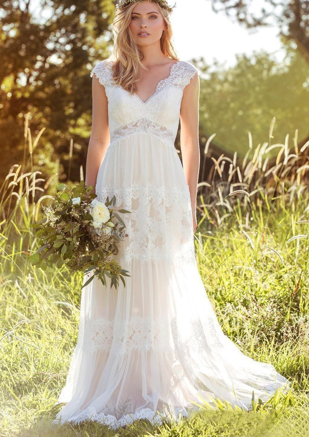 Butalways Lace Wedding Dresses Long Boho Bohemian Wedding Gowns Bridal Dresses Low Back 2018 As Pictures 17w