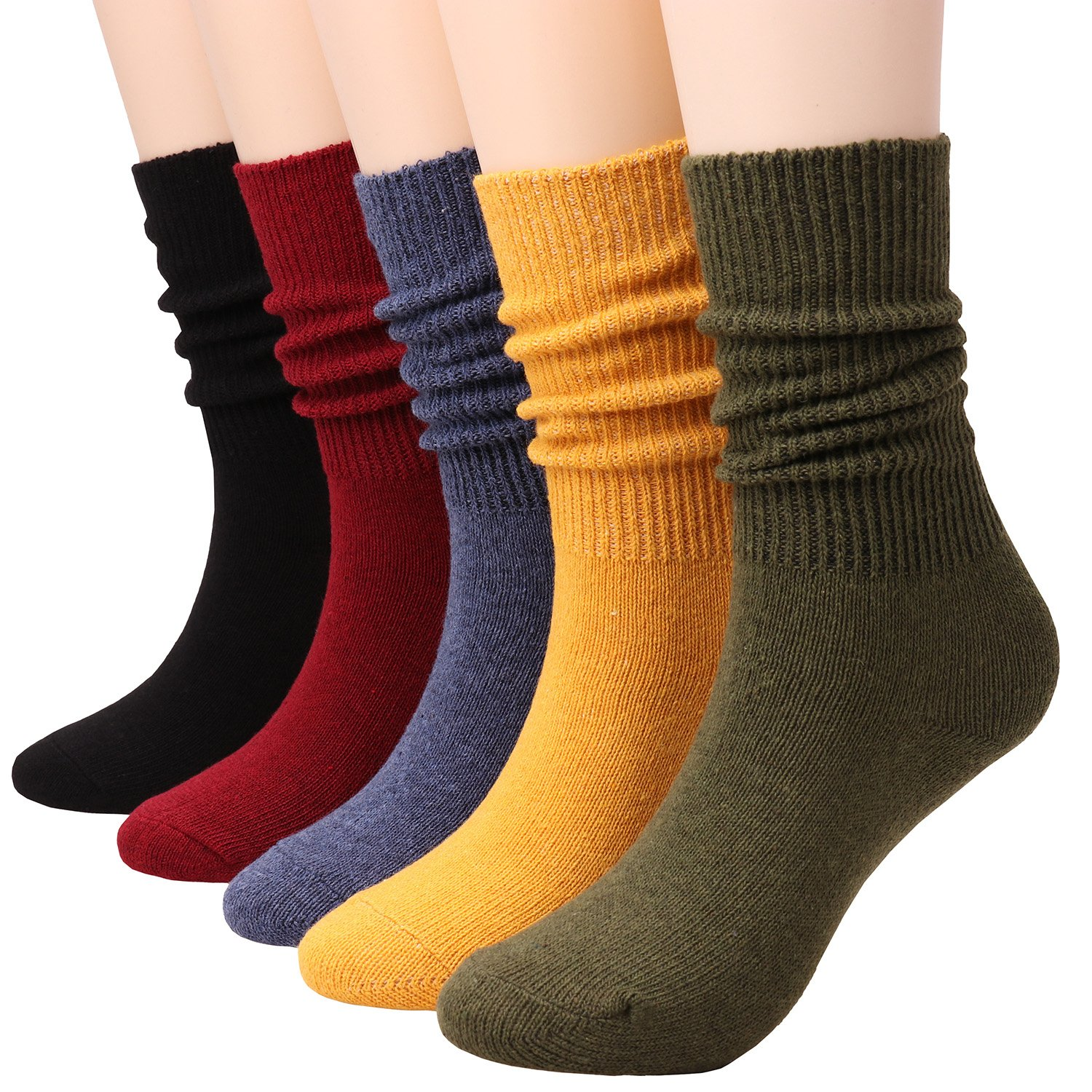 TINTAO 5 Pairs Women Comfortable Crew Soft Slouch Knit Cotton Socks,5-10 W81 (Solid Color)