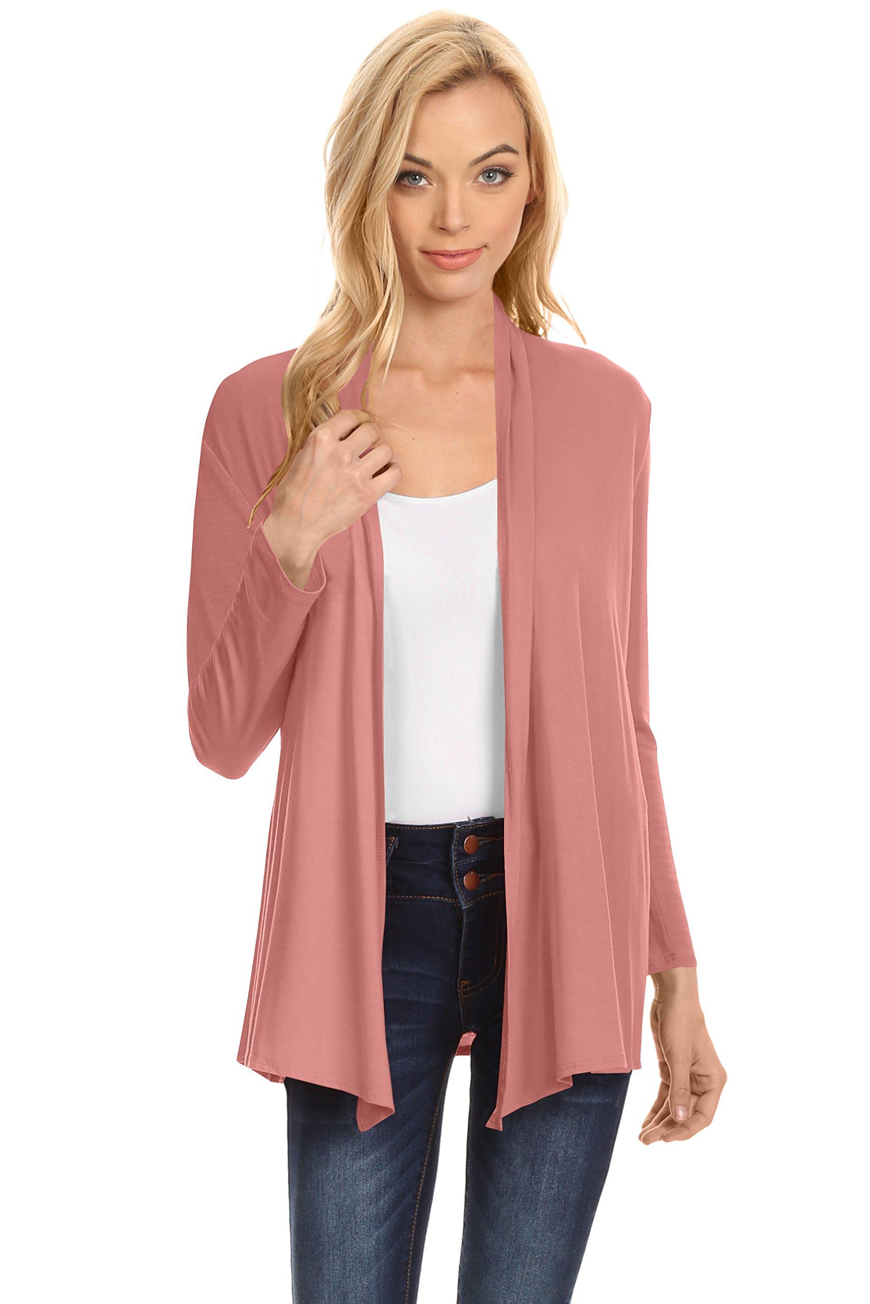 Simlu Womens Open Drape Cardigan Reg and Plus Size Cardigan Sweater Long Sleeves - USA Rose Small
