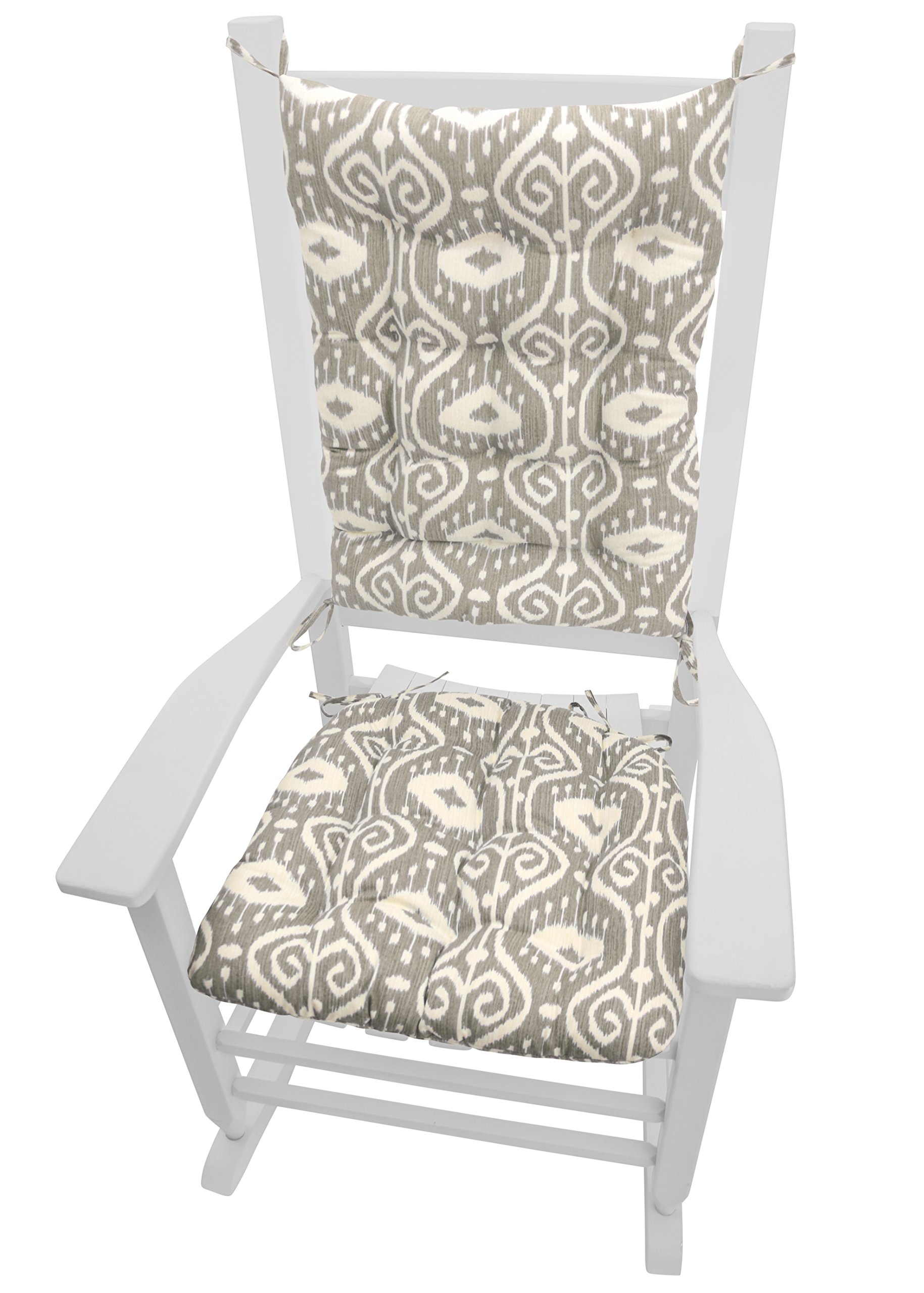 Rocking Chair Cushions - Bali Ikat Stone Grey - Reversible Seat Cushion and Back Rest with Ties - Latex Foam Fill - Made in USA (Standard)