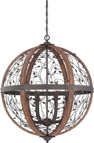 Quoizel Lighting CHB5208DK Chamber Chandelier 8 Light Wood, Darkest Bronze Finish