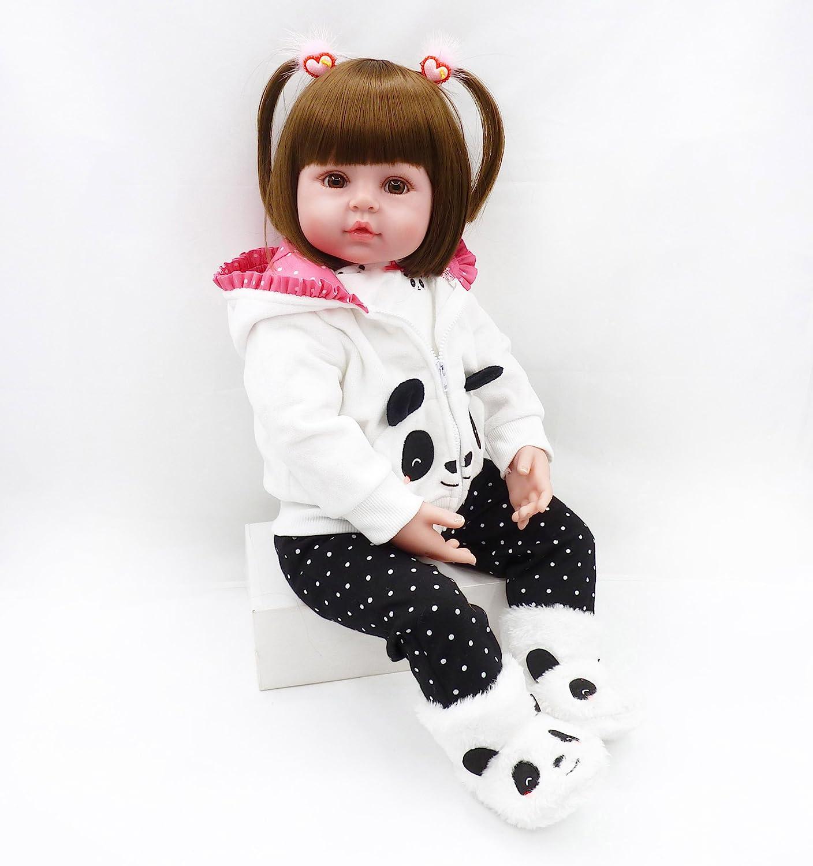 NPK ハンドメイド リボーンドール 幼児 人形 女の子 18インチ リアルな幼児人形 パンダの服付き 3歳以上のお子様へのギフトに