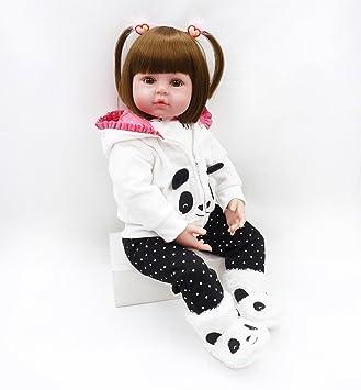 MAIDEDOLL Reborn Muñecas de bebé de Vinilo de Silicona Suave Realista Recién Panda Coat Negro Zapatos de Pantalones Nacido para niños Mayores de 3 ...