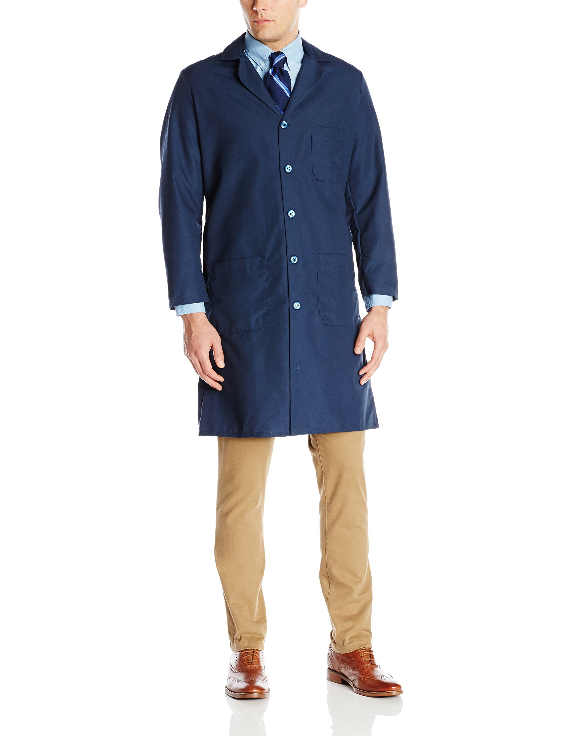 Red Kap Men's Exterior Pocket Original Lab Coat, Navy, 38