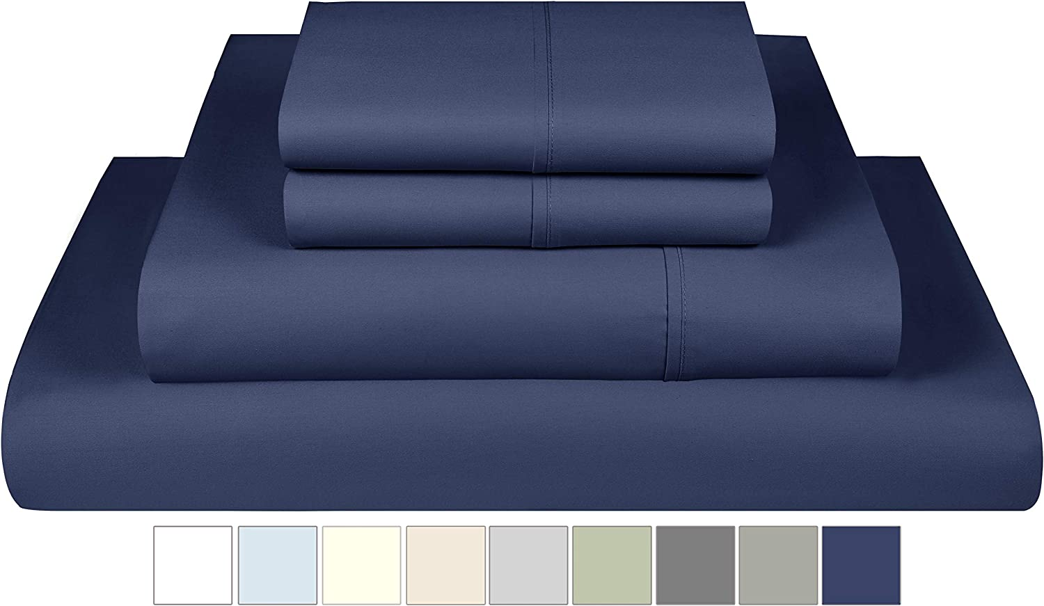 800 Thread Count Sheets Queen Size - 100% Cotton 4 Piece Bed Sheet Set with Deep Pocket, Smooth Sateen, Queen Bedding, Folkstone Blue