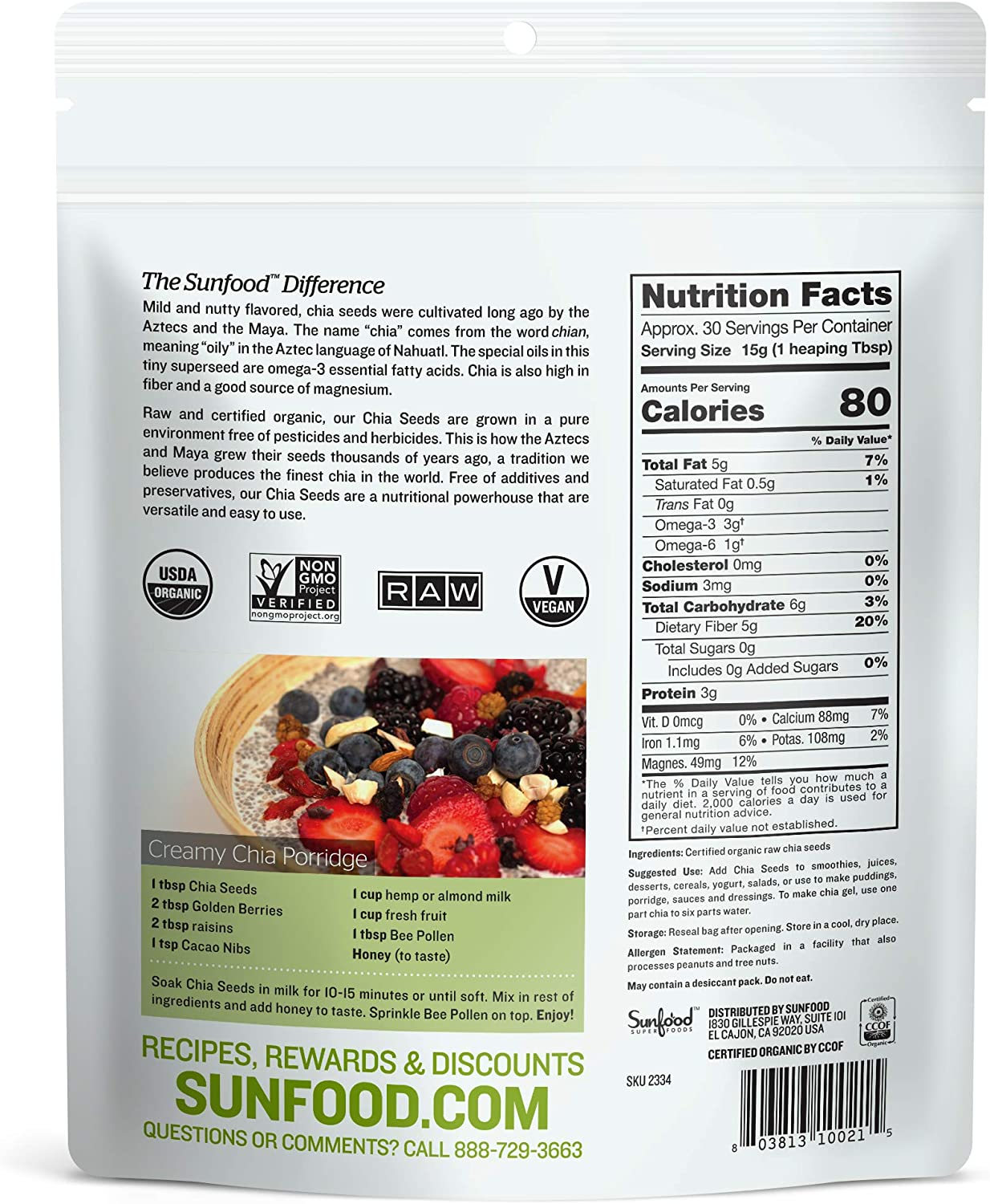 Amazon.com: sunfood Chia semillas, orgánico, Raw, 1: Health ...