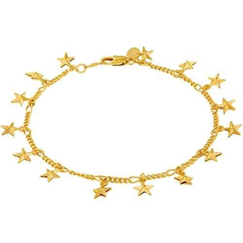 Lifetime Jewelry Ankle Bracelet with Dangling Stars for Women and Teen Girls – 24K Real Gold Plated Cute Durable Anklet – Wear to Beach or Party – Lifetime Replacement Guarantee 9 10 and 11 inches