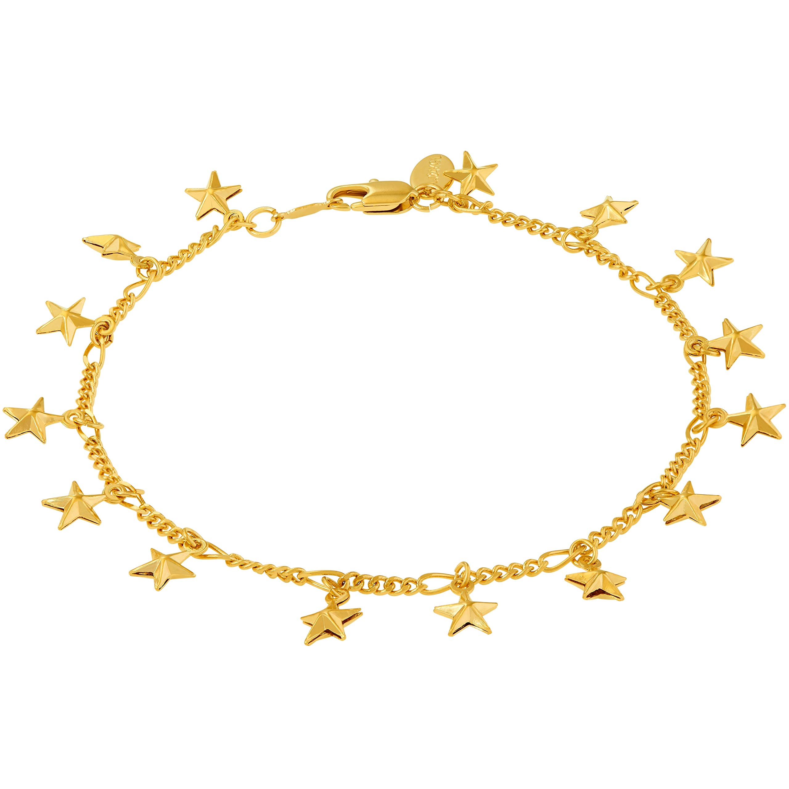 Lifetime Jewelry Anklets for Women Men and Teen Girls - 24K Gold Plated Chain with Dangling Stars - Ankle Bracelet to Wear at Beach or Party - Cute Surfer Anklet - 9 10 and 11 inches (9)