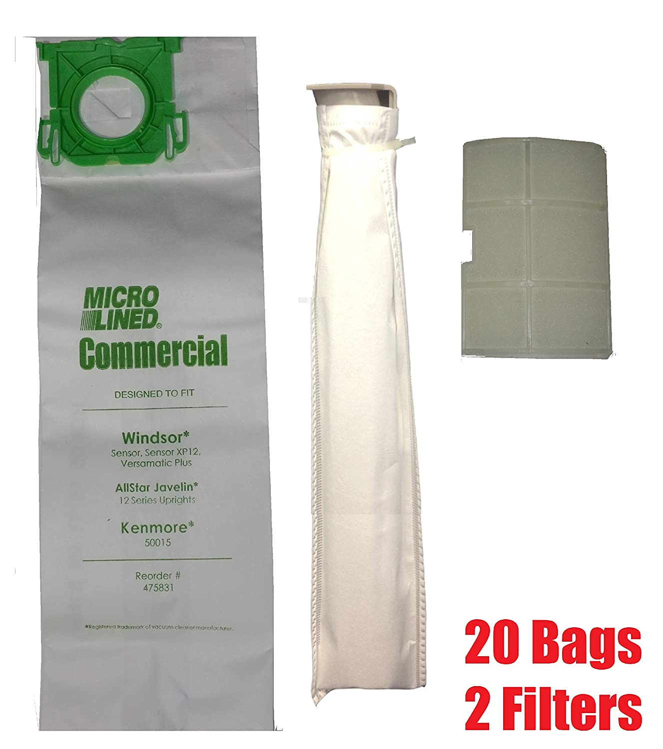 Sebo, Windsor Service Box Vacuum Bag and Filter Kit. 20 Bags + 2 Filters. Micro-Lined Fits 5828ER