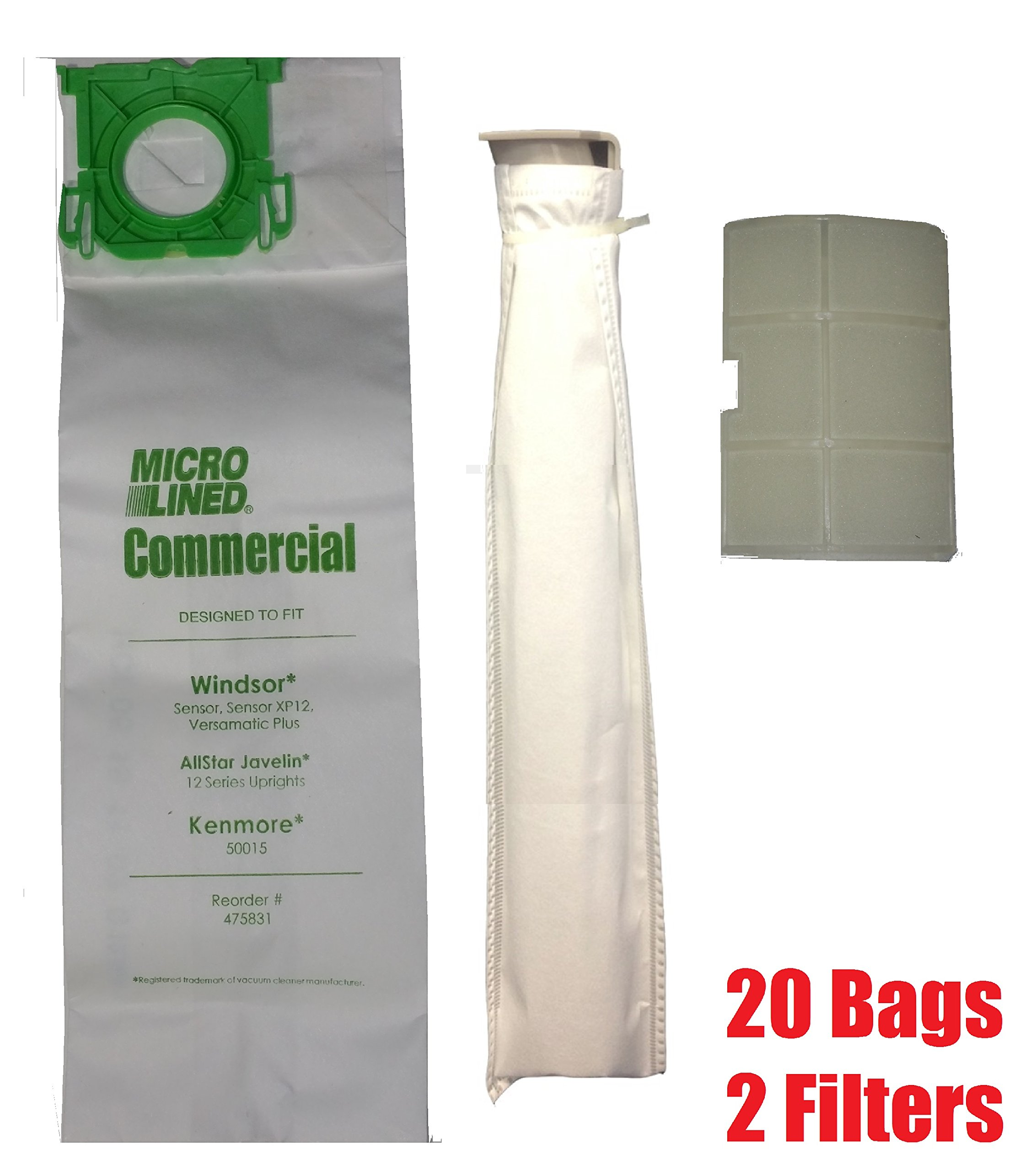DVC Micro Lined Replacement for Sebo, Windsor Service Box Vacuum Bag and Filter Kit. 20 Bags and 2 Filters. by Micro-Lined DVC