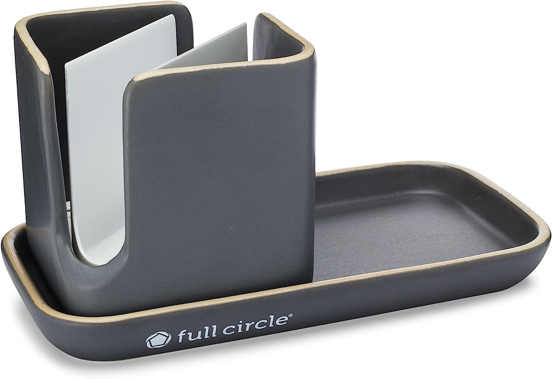 Amazon Com Full Circle Stash Ceramic Sink Caddy Gray And White 11