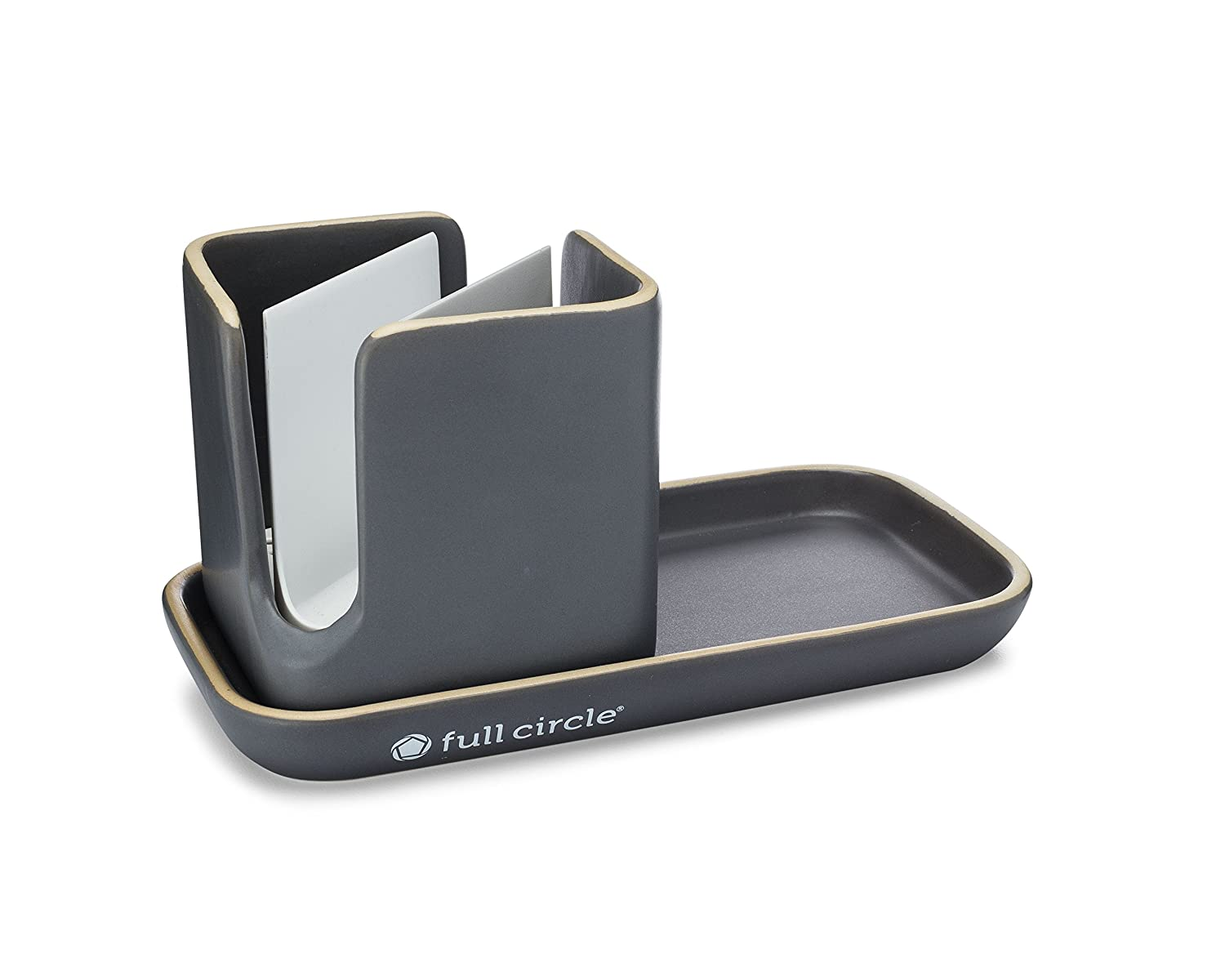 Full Circle Stash, Ceramic Sink Caddy, Green and White FC17404W