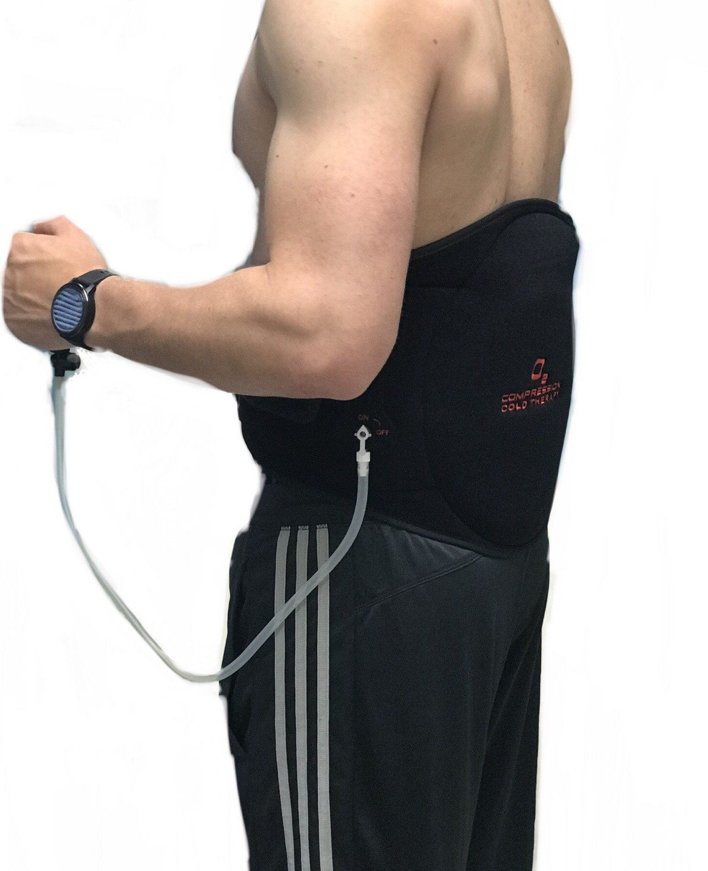 O2 Cold and Compression Back Wrap with lined ice pack and air compression