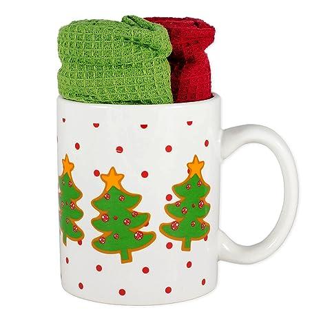 Árboles de Navidad de cerámica gres 16 oz Taza de café regalo con toallas
