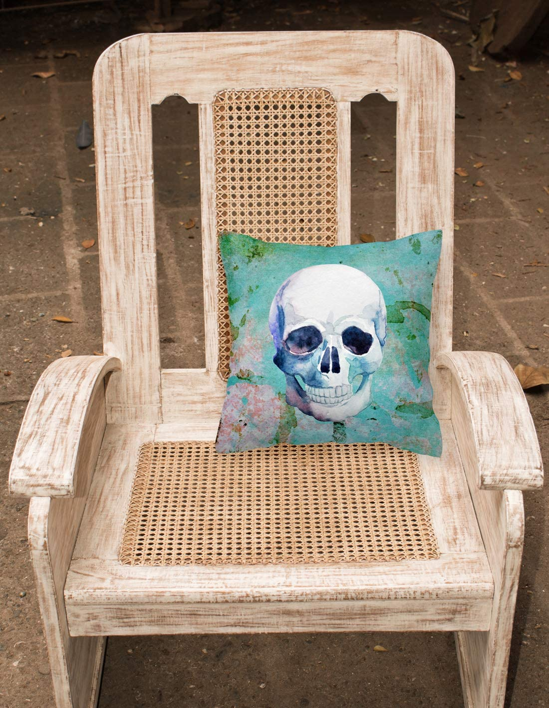 Caroline s Treasures BB5123PW1414 Day of The Dead Teal Skull Fabric Decorative Pillow, Multicolor, 14Hx14W