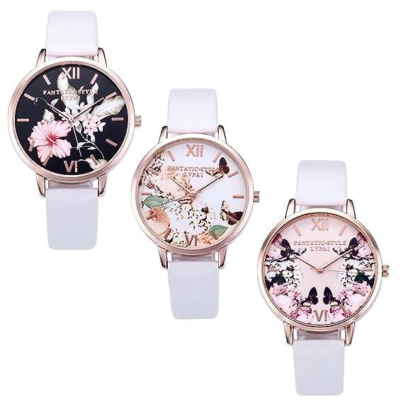 992b81417c JSDDE Uhren,3er Set Vintage Blumen Armbanduhr Basel-Stil Damen Uhr Weiss PU  Lederarmband