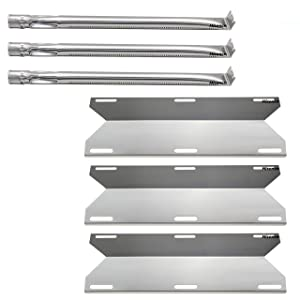 Hisencn Replacement Stainless Steel Grill Burner Tube, Heat Plates Tent Shield, Burner Cover for Charmglow Home Depot 3 Burner 720-0230, 720-0036-HD-05 Gas Grill Models
