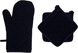 """DAILY HOME ESSENTIALS - Kitchen 3 Pack Cotton Terry Oven Mitt Pot Holder Set (Black)(1 Oven Mitt 7x13, 2 Pot Holders 8""""x8"""")   Strong Heat Resistant for Cooking, Baking, Grilling, BBQ"""
