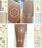 Metallic Temporary Transfer Tattoos for Women Teens Girls - 8 Sheets Gold Silver Temporary Tattoo Shimmer Glitter Designs Jewellery Tattoos - 100+ Colour Flash Fake Waterproof Tattoo Stickers (Caicos)