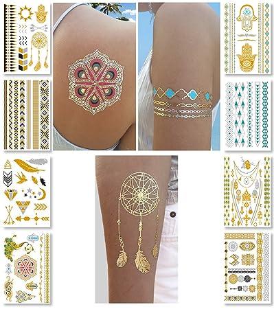 Amazon Com Metallic Temporary Tattoos For Women Teens Girls 8