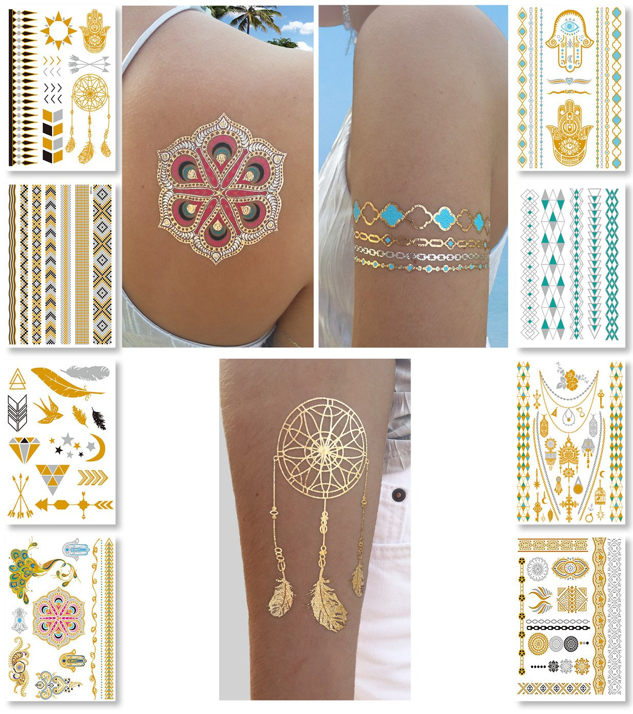 Amazon Com Temporary Boho Metallic Henna Tattoos Over 75 Mandala