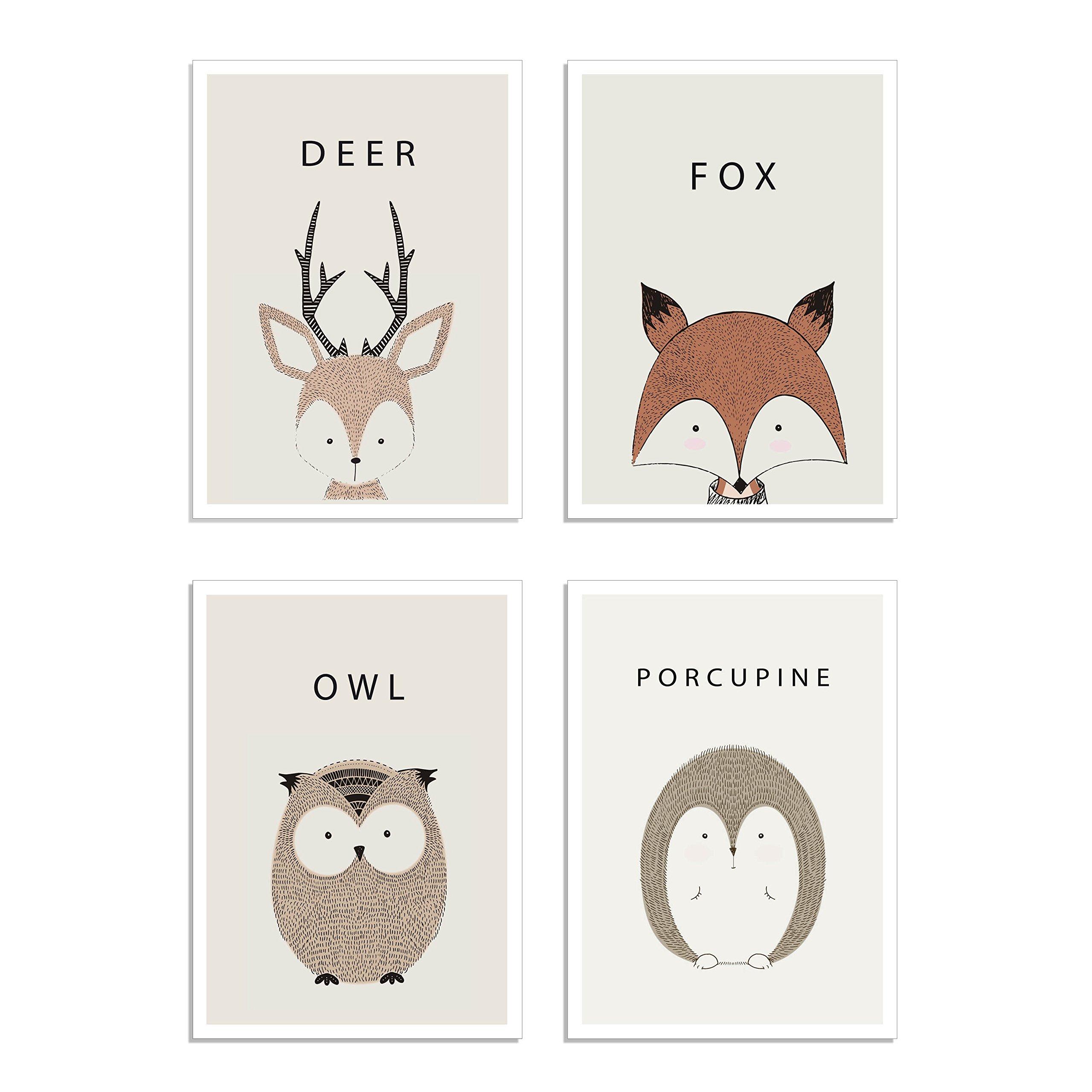 Woodland Animal Prints Porcupine Deer Fox Owl Nursery Wall Art Kids Nursery Baby Room Decor, Set of 4 Unframed