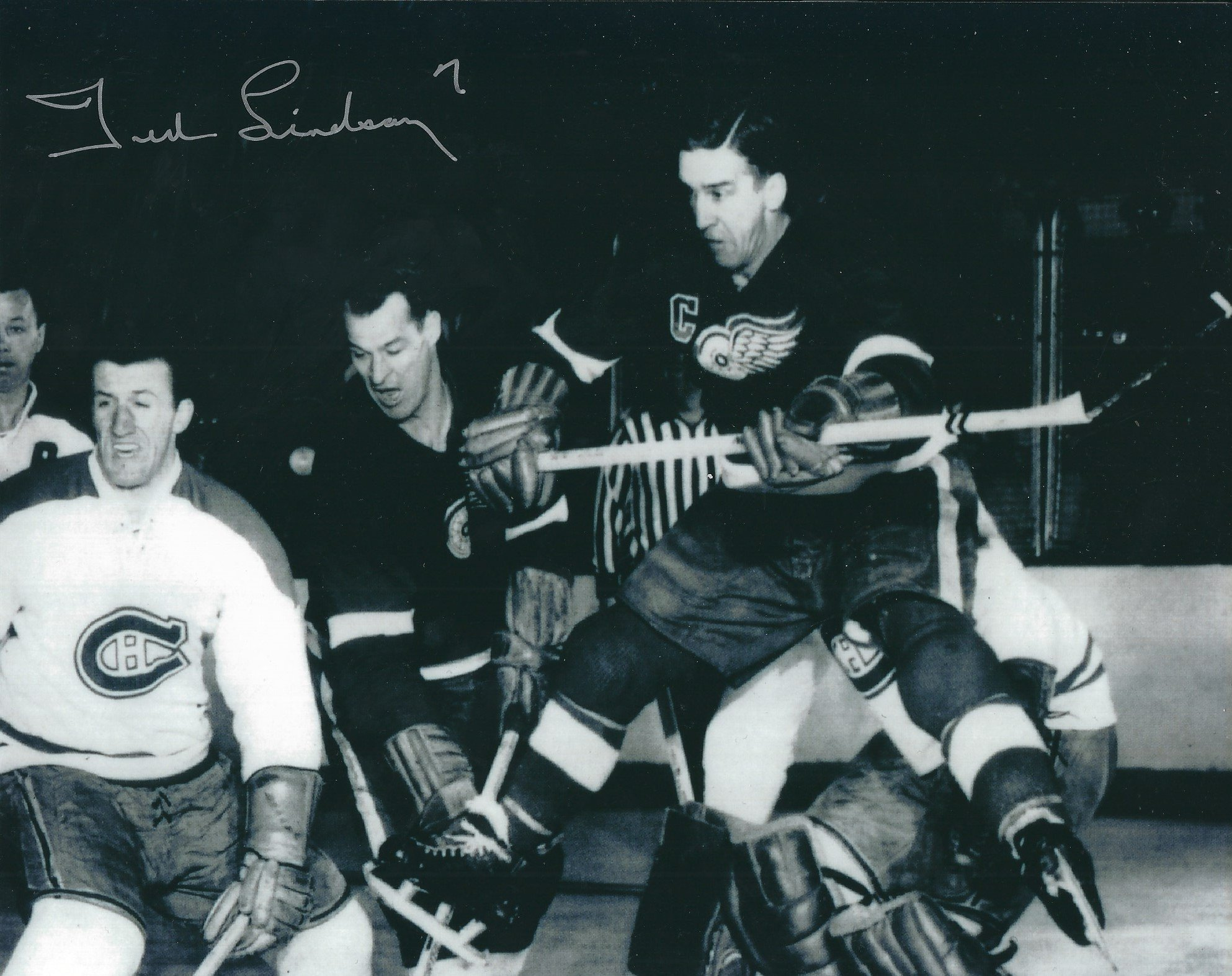 Autographed Ted Lindsay 8x10 Detroit Red Wings Photo