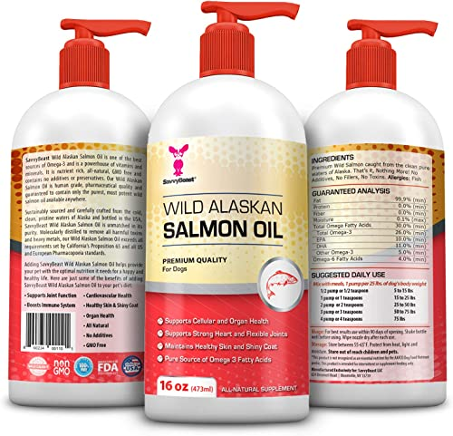 Wild Alaskan Salmon Oil for Dogs, Cats, Ferrets - 16 32oz Pure Unscented Liquid Omega 3 Fatty Acid Fish Oil for Dogs - EPA DHA'supplement for Pets - Helps Joints, Dry Skin, Coat - Just Pump on Food