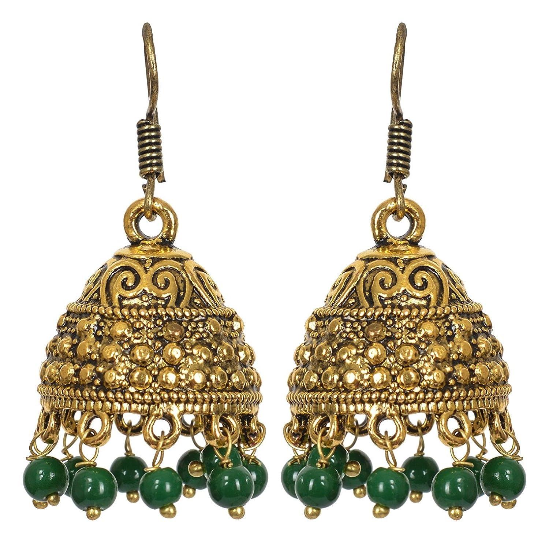 Subharpit Ethnic Green Beads Traditional Indian Jhumka Jhumki Earring for Woman /& Girls